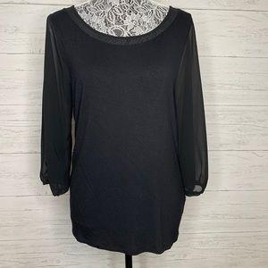 T Tahari Long Sleeve Black Tee Size Large